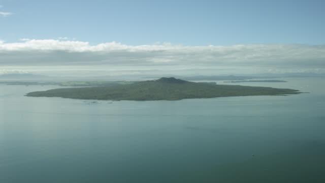 Aerial shot of Rangitoto Island.