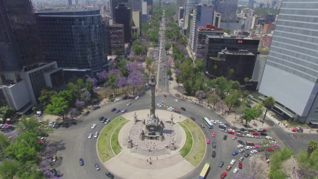 Aerial shot of Reforma Avenue and the Angel de la Independencia with lots of purple flowers