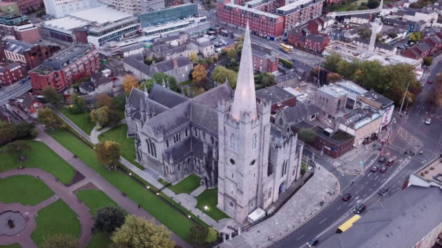 Aerial shot of St Patrick's Cathedral in Dublin Ireland - 4k