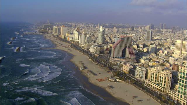 Aerial shot of Tel Aviv's coastline & Marina, Israel