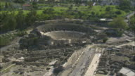 Aerial shot of the amphitheatre in Beth Shean archaeological site, Beth shean, Israel