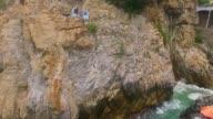 Aerial shot of the divers in La Quebrada in Acapulco Guerrero Mexico