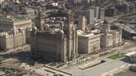 Aerial shot of the Liver building in Liverpool UK Northern City Industrial North Aerials on July 10 2012 in Various Cities