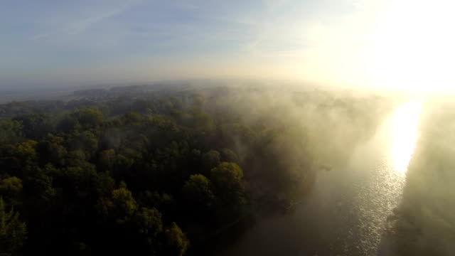 HD: Aerial Shot Of The River At Sunrise
