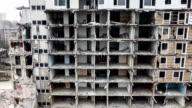 Aerial shot of Urban Destruction. Demolished building.
