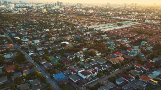 Aerial shot of Village,Sunset