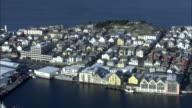 Aerial shot over buildings in the town of Alesund in western Norway.