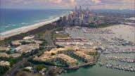Aerial shot over Gold Coast City in Queensland.