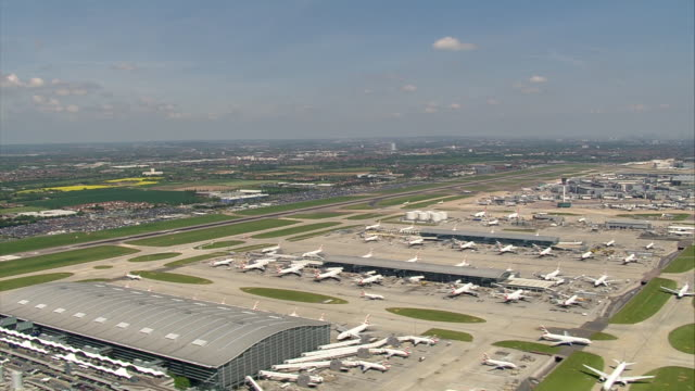 Aerial shot over London Heathrow Airport