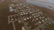 Aerial shot over the Inupiat city of Kaktovik in Alaska.