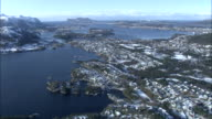 Aerial shot over the town of Alesund and its surrounding districts.