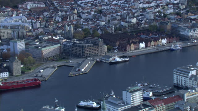 Aerial shot over the waterfront area of Bergen.
