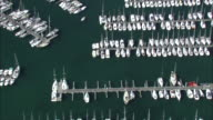 Aerial shot over yachts moored at a marina in Brittany.