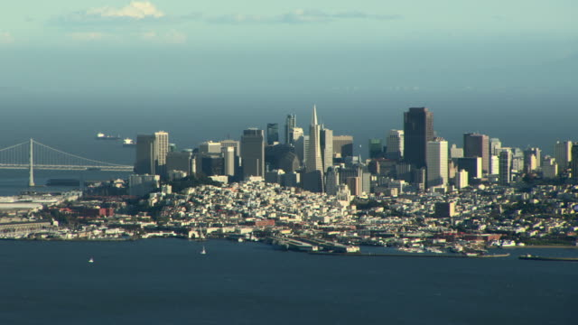 Aerial shot, panning left with waterfront view of San Francisco.