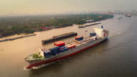 Aerial shot track of container ship in river