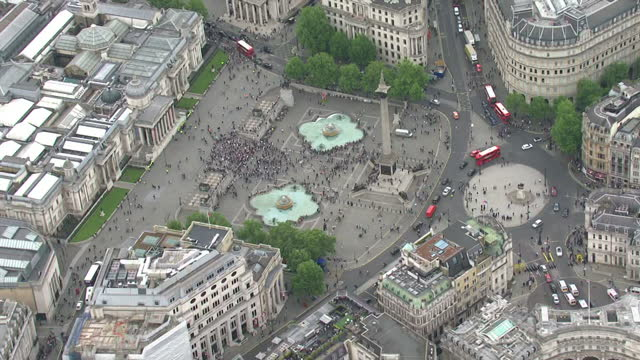 Aerial shots anti austerity anti government anti Tory demonstrators student protesters marching gathering at Trafalgar Square on May 27 2015 in...