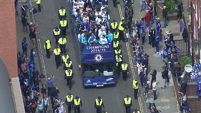 Aerial shots Chelsea FC players and team at open top bus celebrating with trophy during Premier League Victory Parade in London on May 25 2015 in...