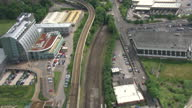 Aerial shots following railway lines through the outsikirts of Sheffield from Sheffield Station>> on June 25 2015 in Sheffield United Kingdom