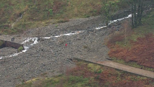 Aerial shots of a landslide covering path next to Derwent Water after storm in North West England on December 07 2015 in Keswick Cumbria England