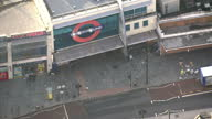 Aerial shots of a police van outside Brixton underground station after a nights rioting in the area with rubble on streets on August 8 2011 in London...