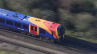 Aerial shots of a South West Trains passenger train travelling along a railway line through Surrey First Class rail travel may be scrapped on January...