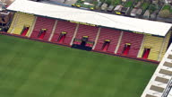 Aerial shots of an empty Watford Football Club stadium and the surrounding area on September 16 2015 at Vicarage Road Watford Hertfordshire England