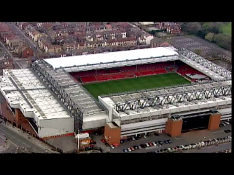 Aerial shots of Anfield stadium home of Liverpool Football Club and Goodison Park home of Everton Football Club