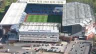 Aerial shots of Aston Villa stadium Villa Park on April 29 2016 in Birmingham England