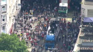 Aerial shots of Notting Hill Carnival and revellers taking part in parade on 27th August 2017 London England