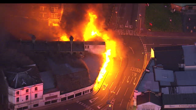 Aerial shots of Reeves Furniture Store on fire in Croydon during the London riots on August 6 2011 in London England