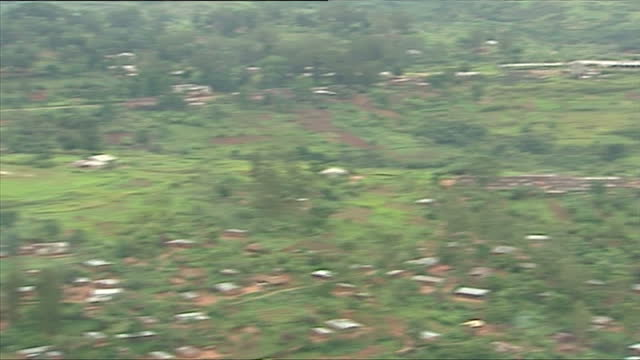 Aerial shots of rural forest land and villages in rural mountainous areas on March 20 2006 in Democratic Republic of Congo