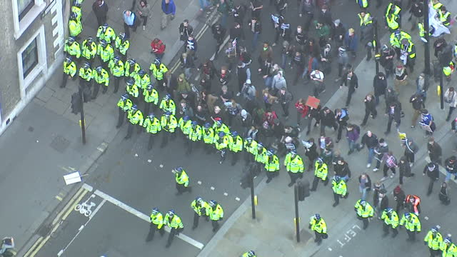 Aerial shots of student protesters marching through central London on November 09 2011 in London England