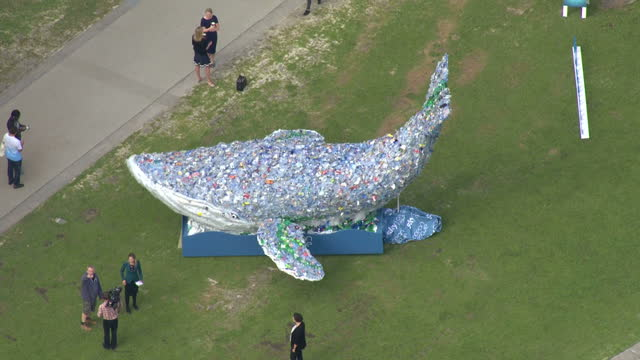 Aerial shots of tenmetre plastic whale made of 250 kilograms of singleuse plastic installation art piece commissioned by Sky News as part of the...