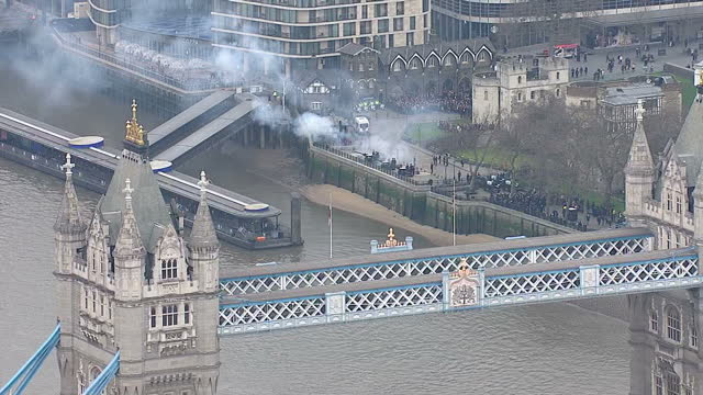 Aerial shots of the Honourable Artillery Company firing a 62gun salute at the Tower of London to mark the Queen's Sapphire Jubilee>> on February 06...