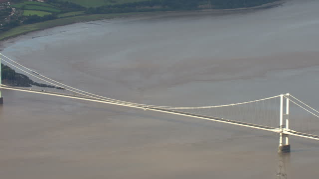 Aerial shots of the M4 Severn Crossing bridge between England and Wales and traffic driving along on September 30 2010 in South West England