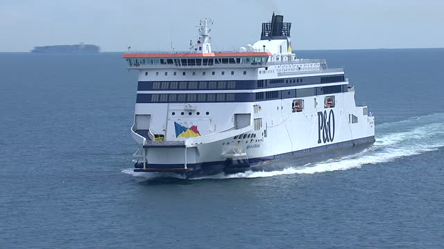 Aerial shots of the PO ferry 'Spirit of Britain' at sea on the English Channel sailing towards Dover>> on August 05 2014 in Various Cities France