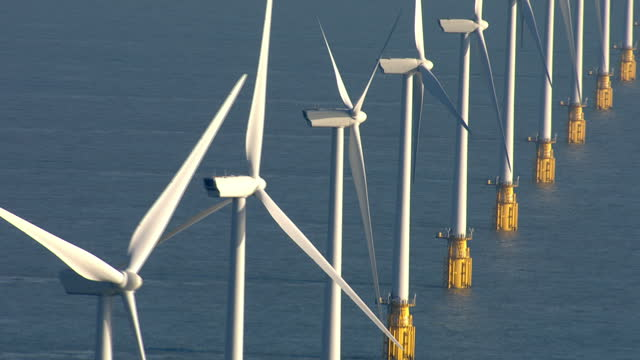 Aerial shots of wind turbines at Thanet wind farm an offshore windfarm off the coast of Kent Offshore Thanet Wind Farm Aerials on September 07 2013...
