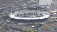 Aerial shots the London 2012 Olympic site showing the Olympic stadium aquatic centre under construction London Olympics site aerials on November 04...