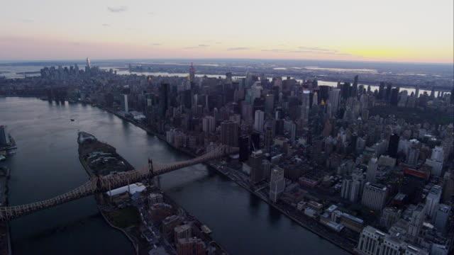 Aerial Side POV Pan Right Manhattan Skyline