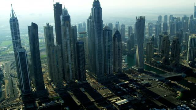 Aerial Skyline view Dubai city