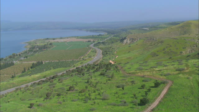 Aerial southern Golan Heights, Israel