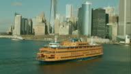 Aerial Staten Island Ferry to reveal Manhattan Battery