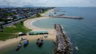Aerial. Stone wave breaker into the sea at Map ta phut Industrail Estate, Rayong, Thailand