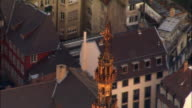 Aerial CU ZO WS Strasbourg Cathedral and surrounding city / Strasbourg, Alsace, France