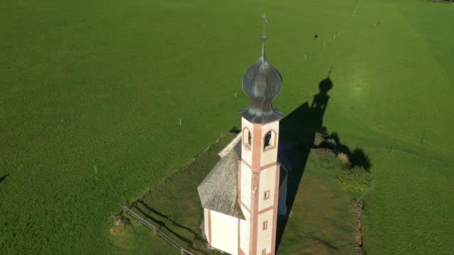 Aerial sun flare view St Johann church Ranui