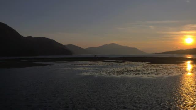 Aerial sunset view Loch Duich mountain Landscape Scotland