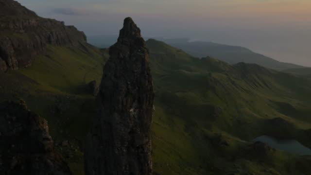 Aerial sunset view of Storr Trotternish Ridge Scotland