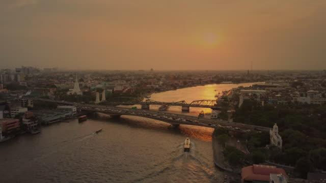 Aerial sunset view of the Phra Phuttha Yodfa Bridge,Bangkok