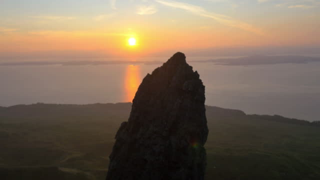Aerial sunset view of Trotternish Ridge Storr Scotland