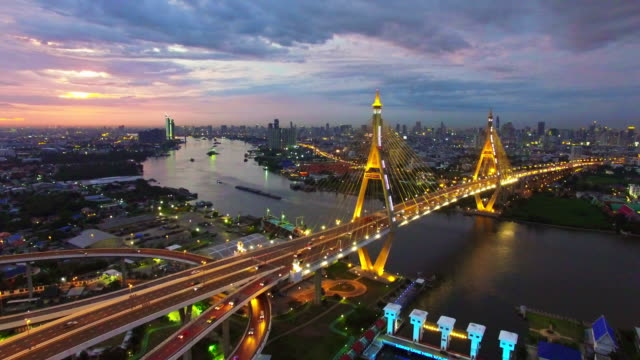 Aerial sunset view shot of the Bhumibol Bridge,Bangkok